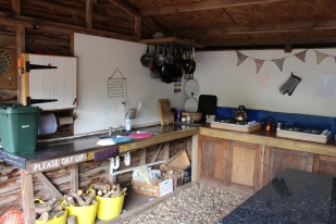The Shelter - outdoor kitchen at Alde Garden Campsite