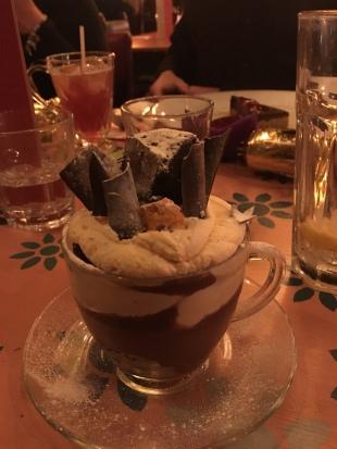 Chocolate brownie and cinder toffee trifle