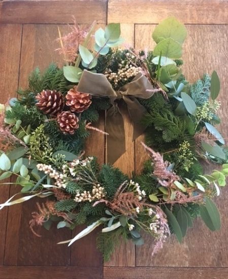 Completed Rose gold wreath - Wreath Making at the Northgate
